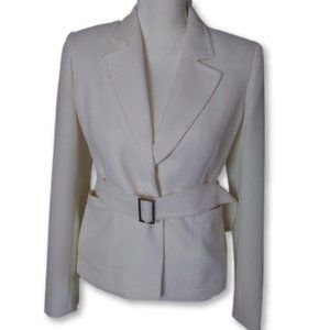 Ann Klein White Suit Jacket/Blazer With Belt